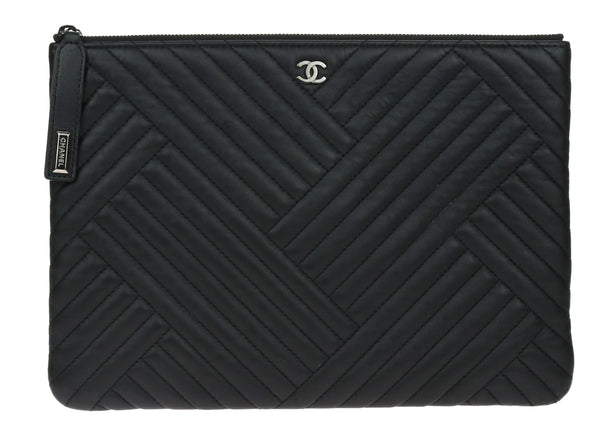 Chanel Black Lambskin Leather CC Crossing Zipper Pouch