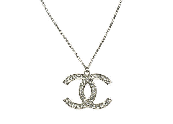 chanel necklace. chanel silver crystal encrusted cc pendant necklace