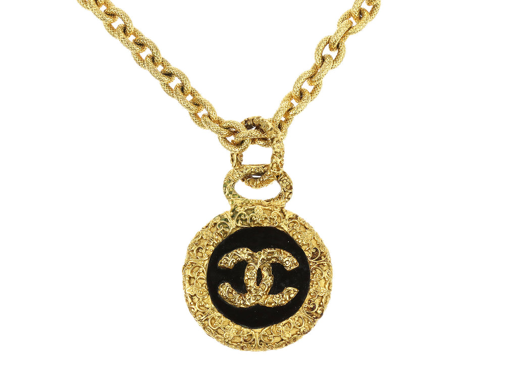 Chanel vintage gold filigree baroque cc pendant necklace mozeypictures Image collections