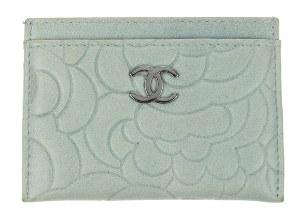 Chanel Grey Camellia Embossed Lambskin Card Case Holder