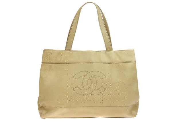 Chanel Vintage Beige Caviar Leather Stitched CC Tote