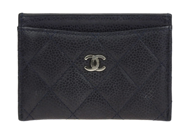 Chanel Navy Caviar Quilted Card Case Holder