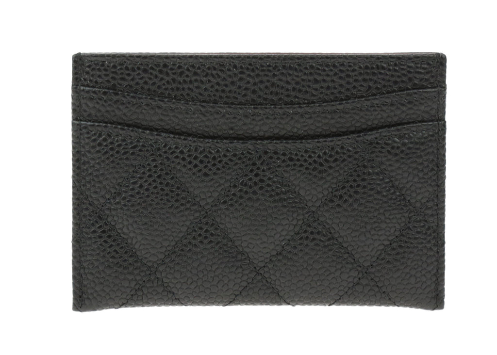 Chanel Black Caviar Leather Quilted Card Holder | Chanel ...