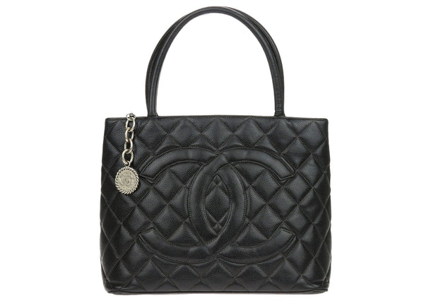 Chanel Vintage Black Caviar Leather Medallion Tote