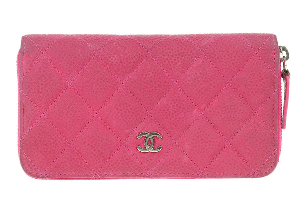 Chanel Pink Caviar Leather Medium Zip Around Wallet