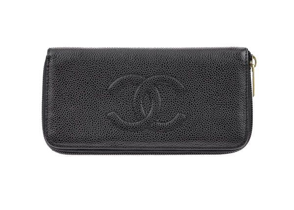Chanel Black Caviar Timeless CC Zip Wallet