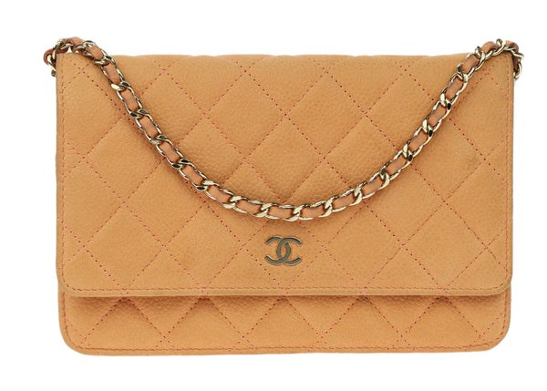 Chanel Orange Iridescent Soft Caviar Leather WOC Wallet On Chain