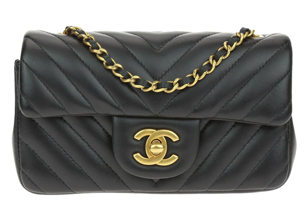 Chanel Black Lambskin Chevron Quilted Extra Mini Flap Bag