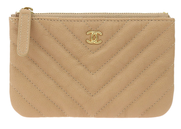 Chanel Beige Goatskin Chevron Quilted Small Cosmetic Pouch