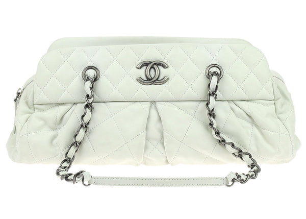 Chanel White Iridescent Quilted Calfskin Chic Quilt Bowler Bag