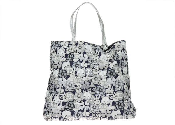 Chanel Silver Cat Emoticon Printed Nylon Tote