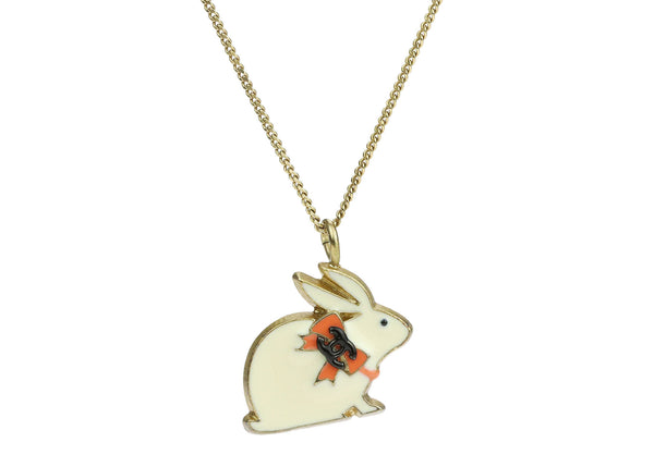 Chanel Enamel Baby Animals White Rabbit Pendant Necklace