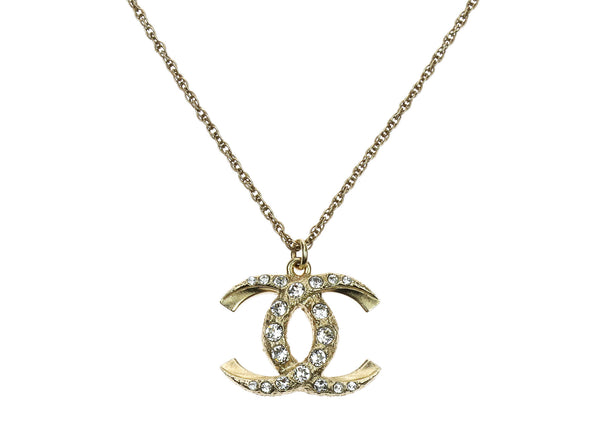 chanel necklace. chanel gold crystal encrusted cc pendant necklace