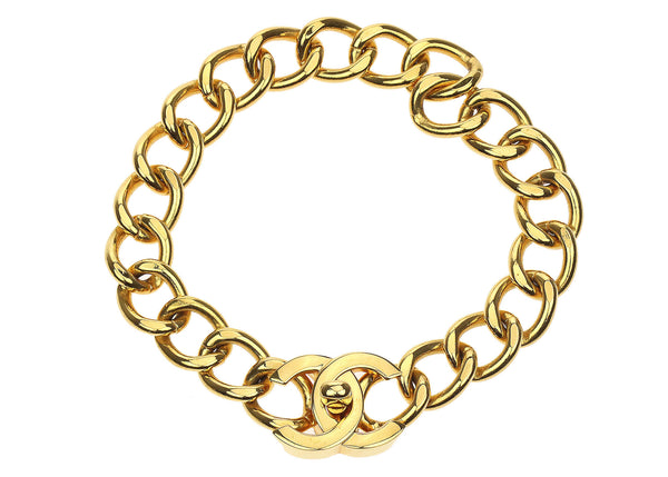 Chanel Gold CC Turnlock Cuban Choker Necklace