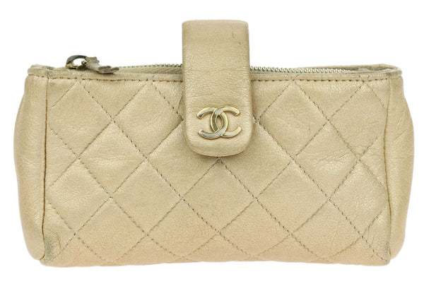 Chanel Metallic Gold Calfskin Mini Phone Holder Clutch