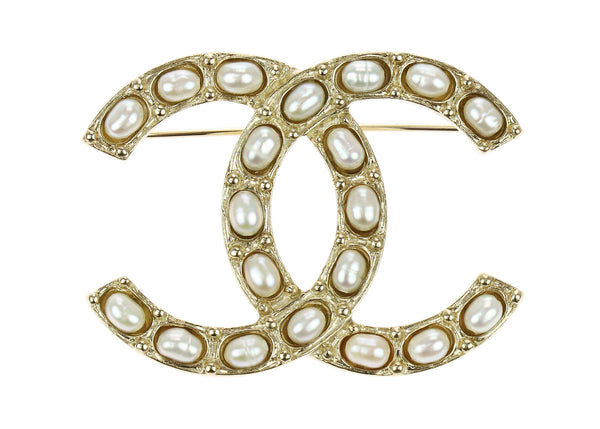 Chanel Gold Faux Pearl CC Pin Brooch