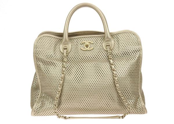 Chanel Gold Metallic Perforated Leather Small Up In The Air Tote Bag