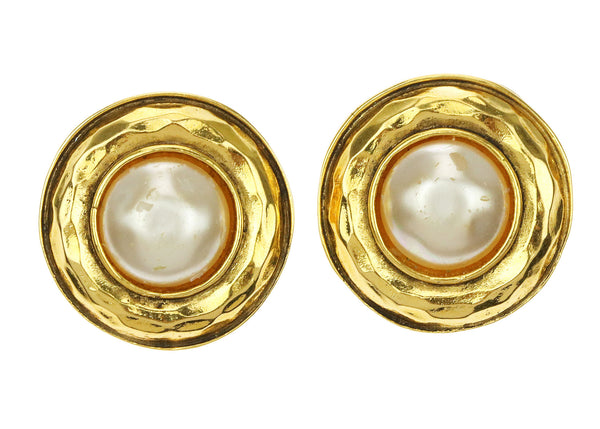 Chanel Vintage Gold Faux Pearl Round Clip On Earrings