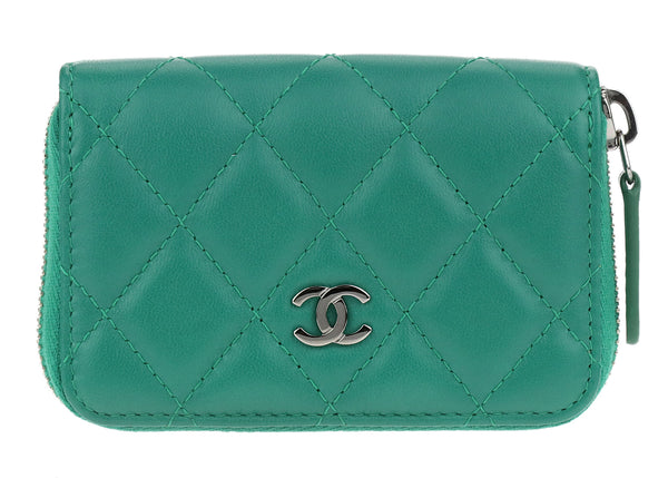 Chanel Green Lambskin Leather Zip Around Coin Purse