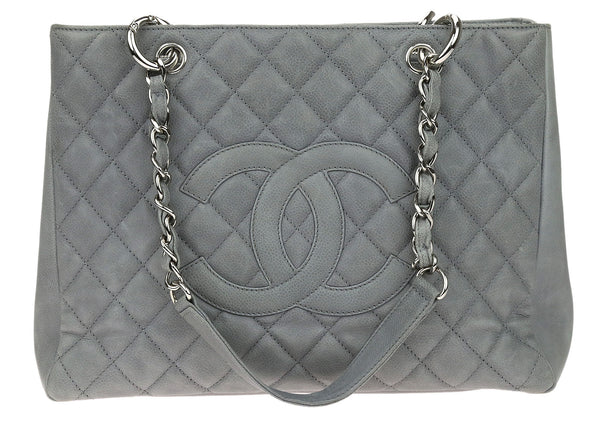Chanel Grey Caviar Leather Grand Shopping Tote GST