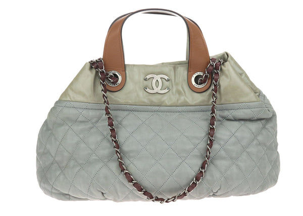 Chanel Grey Quilted Iridescent Small In-The-Mix Tote Bag