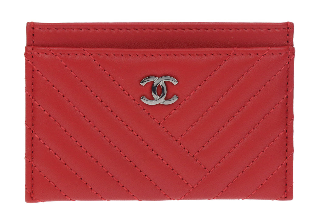 Chanel Red Lambskin Leather CC Crossing Card Holder | Chanel ...