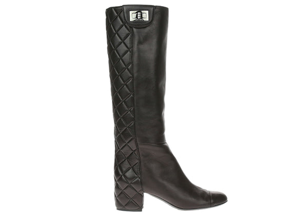 Chanel Black Quilted Lambskin Cap Toe Reissue Lock Riding Boots