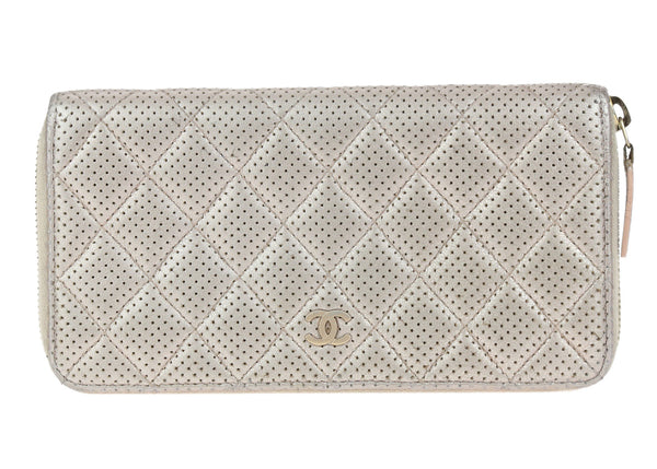 Chanel Metallic Pink Perforated Leather Zippy Wallet