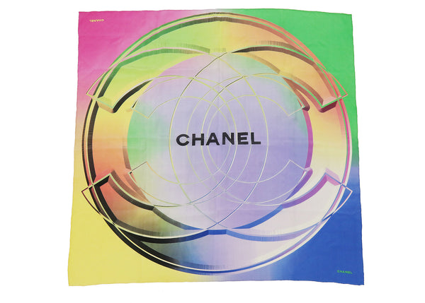 Chanel Multicolor Silk Chiffon CC Print Square Scarf