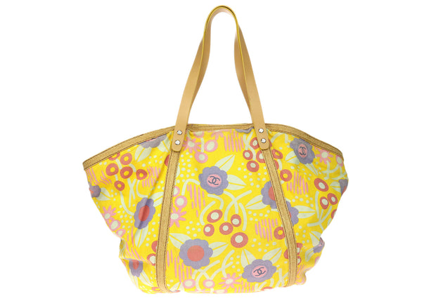 Chanel Multicolored Floral Printed Canvas Tote