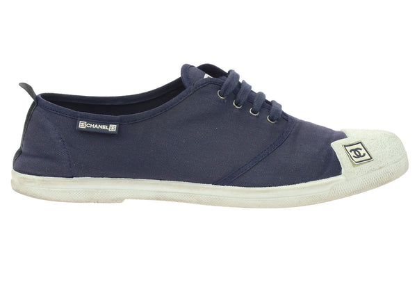 Chanel Navy Canvas Lace-Up Sneakers