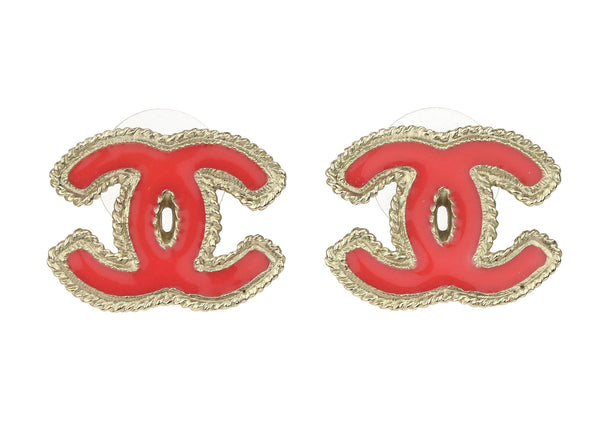Chanel Oversized CC Logo Coral Stud Earrings