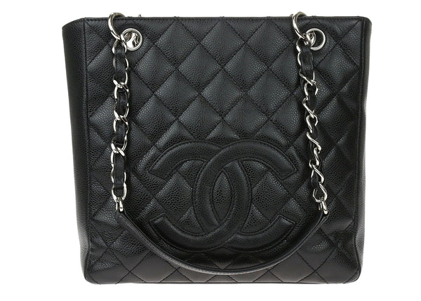 Chanel Black Caviar Leather Petit Shopping Tote PST