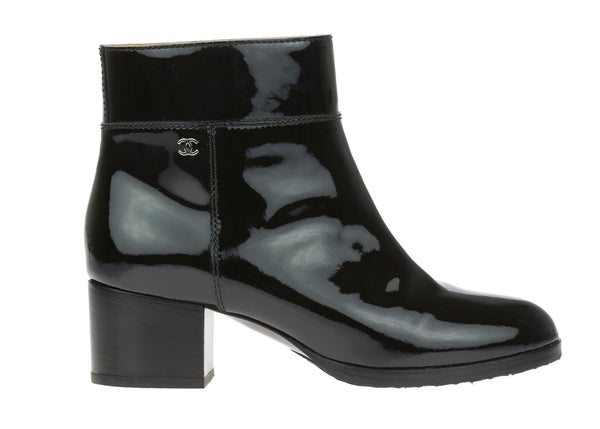 Chanel Black Patent Leather Ankle Boots