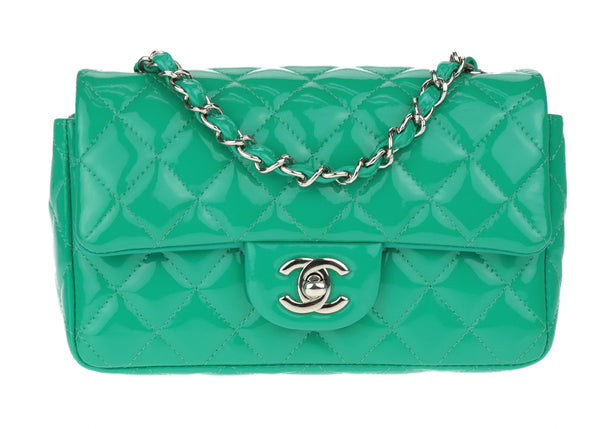 Chanel Green Patent Leather Rectangular Mini Flap Bag