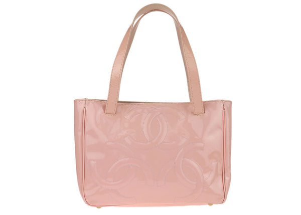 Chanel Pink Patent Leather Triple CC Tote