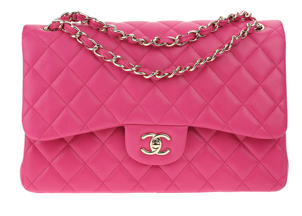 Chanel Pink Lambskin Jumbo Double Flap Bag