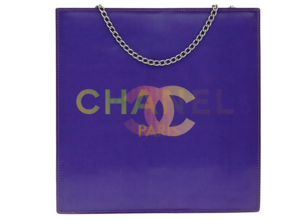Chanel Purple Vinyl CC Logo Holographic Tote