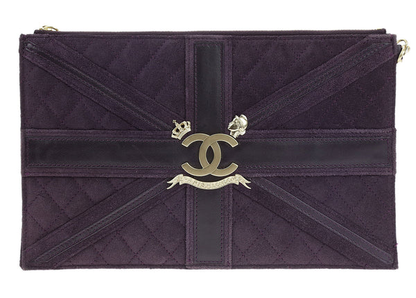 Chanel Purple Suede Union Jack Zippered Wristlet