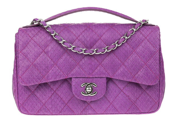 Chanel Violet Python Easy Carry Medium Flap