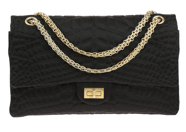 Chanel Black Croc Embroidered Satin 2.55 Reissue 226 Double Flap Bag