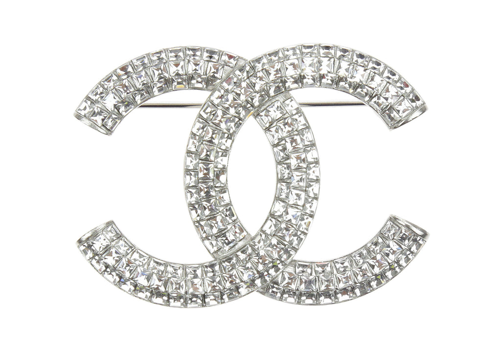 chanel camellia jewelry brooch gallery in metallic rhinestone clear lyst silver