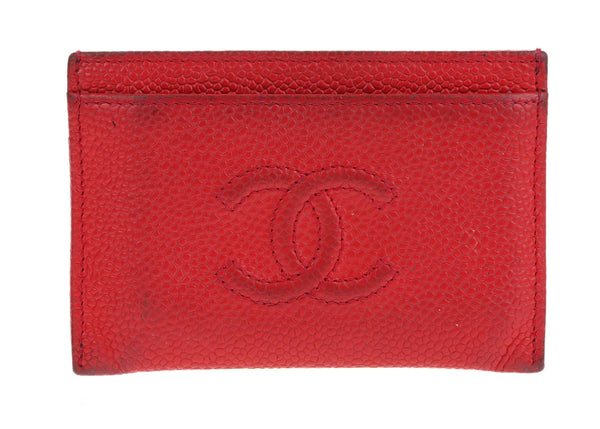 Chanel Red Caviar Leather Timeless CC Card Case Holder