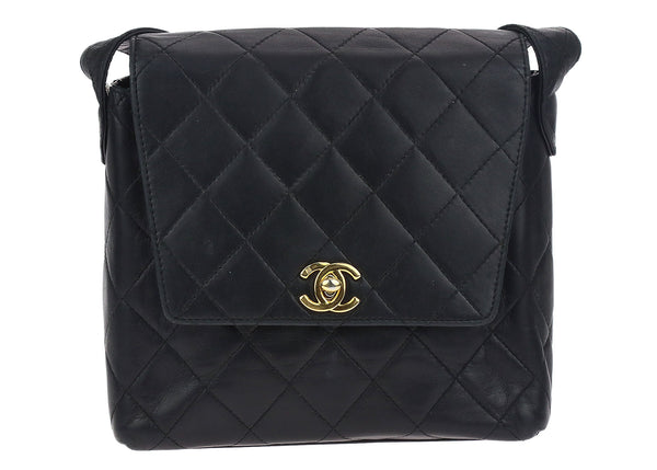 Chanel Vintage Black Lambskin Leather Flap Bag