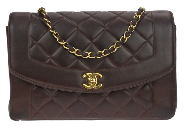 Chanel Vintage Brown Lambskin Leather Diana Flap Bag