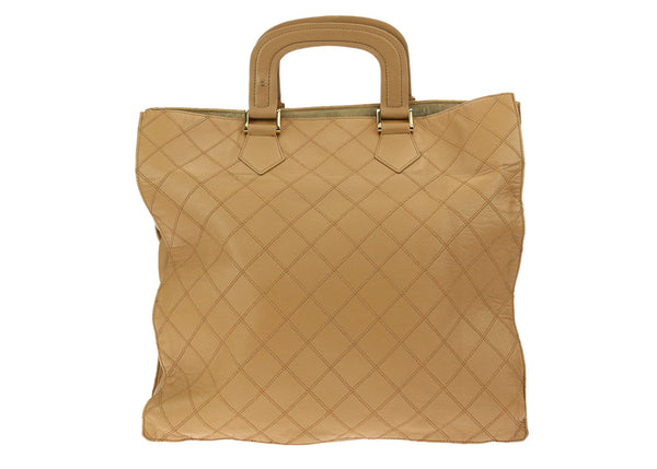 Chanel Vintage Camel Calfskin Quilted Fold Down Bag
