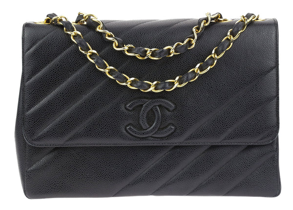 Chanel Vintage Black Caviar Diagonal Quilted Jumbo Flap Bag