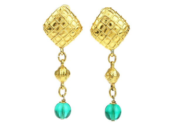 Chanel Vintage Gold Quilted Bead Dangle Clip On Earrings