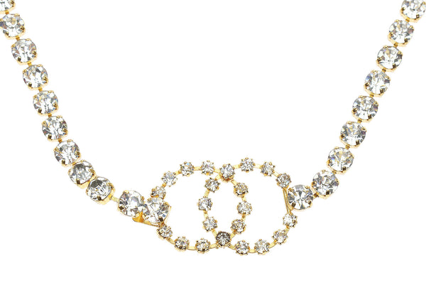 Chanel Vintage Gold-Tone Crystal CC Belt/Necklace