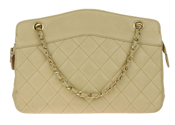 Chanel Vintage Beige Lambskin Quilted Shoulder Bag